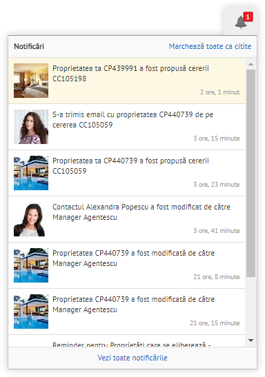 Notificari in interfata CRM REBS