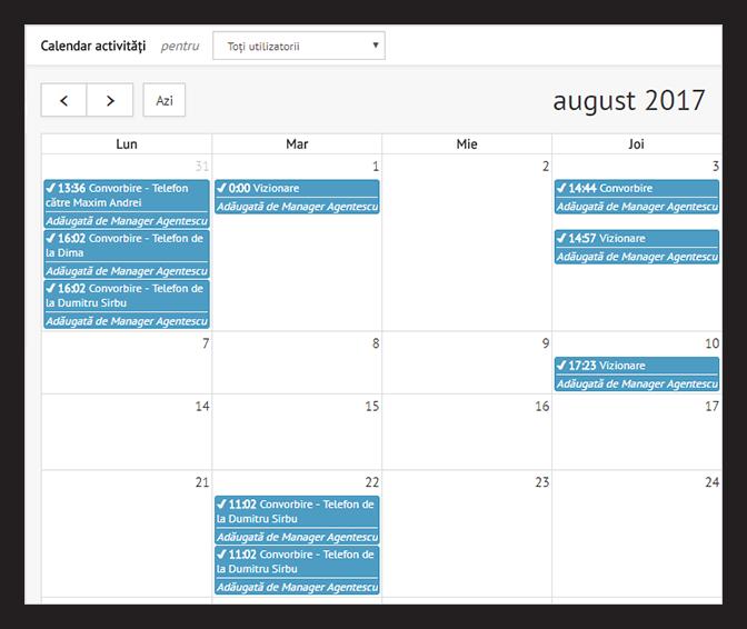 Activitati in calendar in interfata CRM REBS
