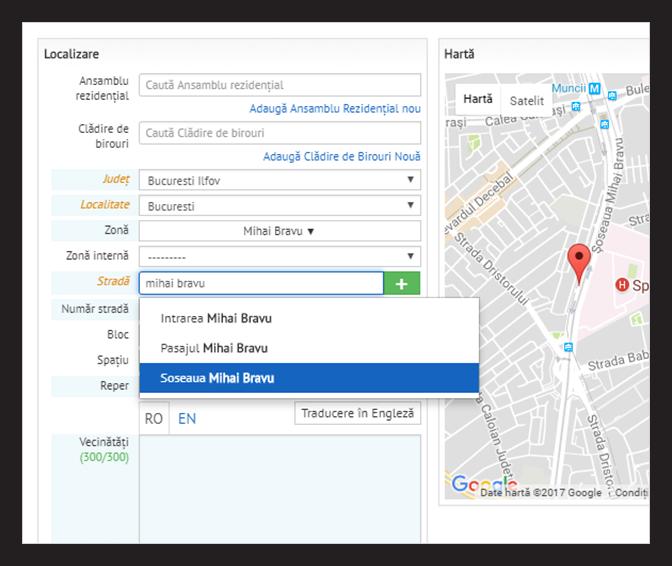 Localizare automata a adreseleor pe harta, in interfata CRM REBS